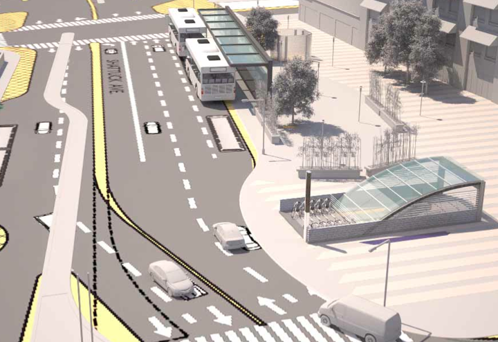 The city of Berkeley is undertaking a new project to renovate the downtown Berkeley BART entrances, build a new bus shelter and construct a redesigned Plaza. (This is a conceptual drawing for illustrative purposes only.) Image: City of Berkeley