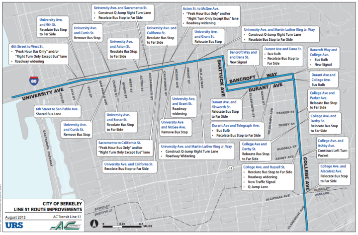 Proposed changes along the Line 51 route in Berkeley. (Click to view larger.) Image: AC Transit