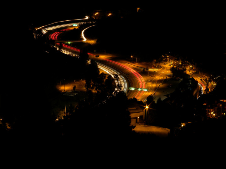 Caldecott Tunnel approach at night