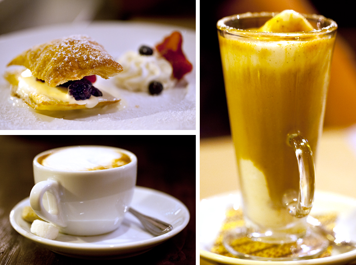 Sfogliatina allo zabaione (puff pastry with mixed berries and chilled zabaione), $8, and coffee two ways.