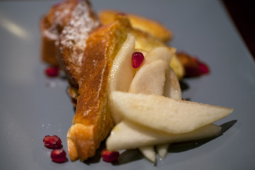 """The """"Holla"""": French toast with house-made sake syrup, at FuseBOX. Photo: Emilie Raguso"""