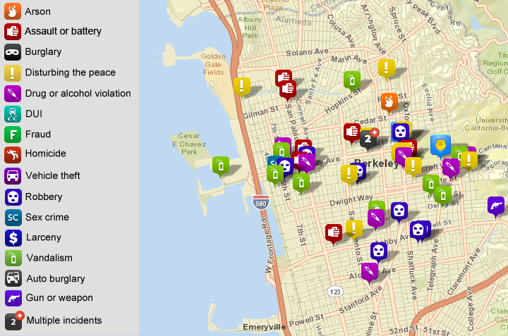 Selected calls for service to the Berkeley Police, via CrimeMapping.com. (Scroll down for maps of burglaries, auto burglaries and auto thefts.) Click the map for the full list.