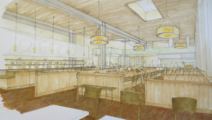 An early rendering of a new restaurant prosed for Ashby Avenue