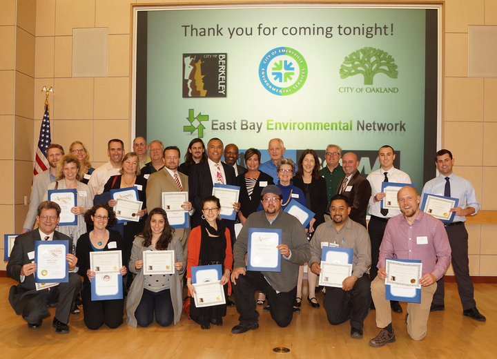 Local businesses that are taking steps to track and reduce greenhouse gas emissions were recognized Thursday night. Photo: Mark Coplan