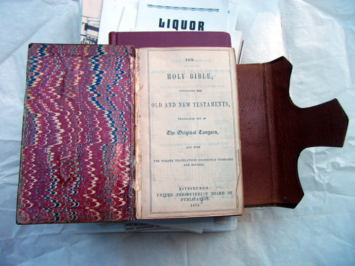 A bible from the 1800s, along with anti-drinking pamphlets, were among the contents of a time capsule found in Berkeley last week. Photo: Leonard nielson