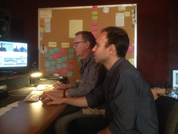 Jason Cohen (right) and co-producer/editor Tom Christopher work together at the Saul Zaentz Media Center. Photo: Natalie Orenstein