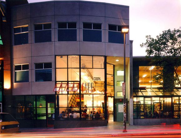 A night shot of Cody's and Cody's Cafe. Photo: Creative Commons/David Baker Architects