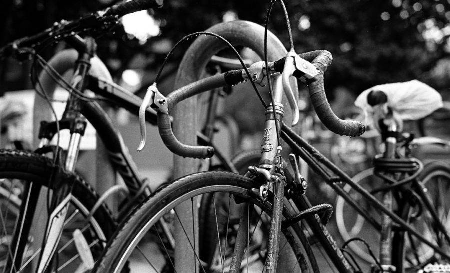 Wet bicycles at a rack in Berkeley. Photo: Marc Zuo