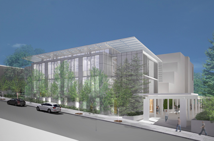 Rendering, dated October 2013, of the planned UC Berkeley Jacobs Institute for Design Innovation building, as it will look from Ridge Road in Berkeley. Image. Berkeley Engineering