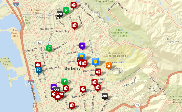 Selected calls for service to the Berkeley Police, via CrimeMapping.com. (Scroll down for maps of burglaries, auto burglaries and auto thefts.) Click the map for the full list. See the map key here.