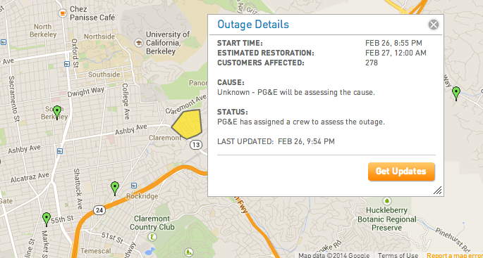 Map via PG&E. (Click the image to view the outage map live.)