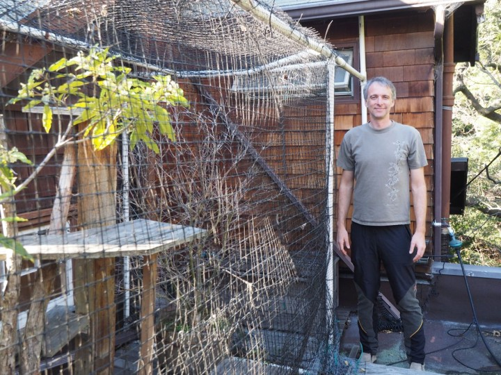 "Phil Price standing by the original ""catio"" he built. Photo: Ilana DeBare"
