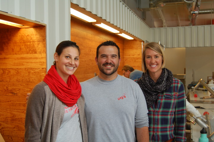 The Smitten team in Rockridge, during late stages of construction. Robin Sue Fisher (left), head of operations Nick Wood, and Smitteneer Eliza Bennett. Photo: Lance Knobel