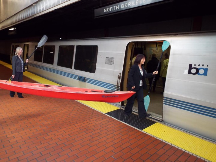 BART announced that kayaks are allowed on trains at all hours, but are limited to the last car of trains. Photo: Paul Kamen