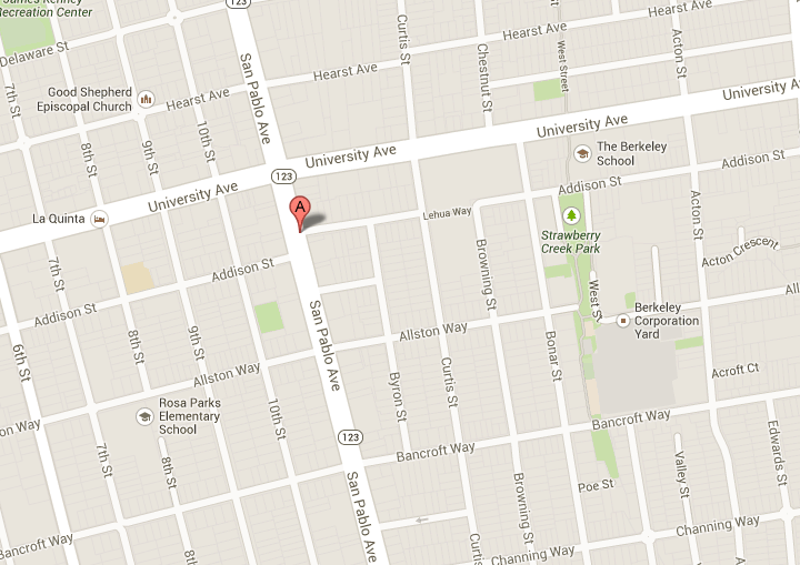 The homicide on Feb. 28 happened in the 1100 block of Addison Street, which runs between San Pablo Avenue and Curtis Street. Image: Google Maps