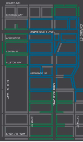 """The green """"value"""" area to the north and west have become too full, and could become """"premium"""" areas. (Click the map for the full presentation.) Image: City of Berkeley"""