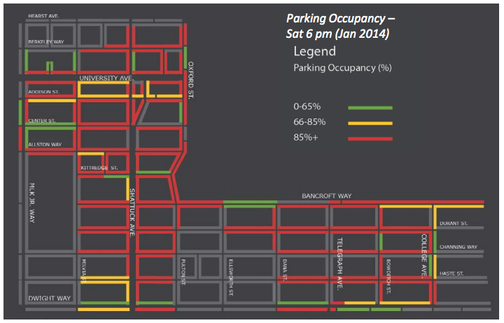 Nearly full conditions on many commercial blocks in Berkeley during the evening hours may lead to metered parking until 8 p.m. (Click the map for the full presentation.) Image: City of Berkeley