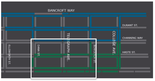 """City staff would like to create a larger """"value"""" area for drivers south of campus. (Click the map for the full presentation.) Image: City of Berkeley"""