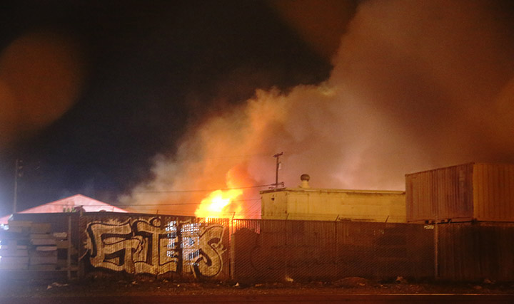 A six-alarm fire burned through a West Berkeley warehouse Saturday, April 12. One of the businesses involved was furniture store Wooden Duck. Photo: David Yee