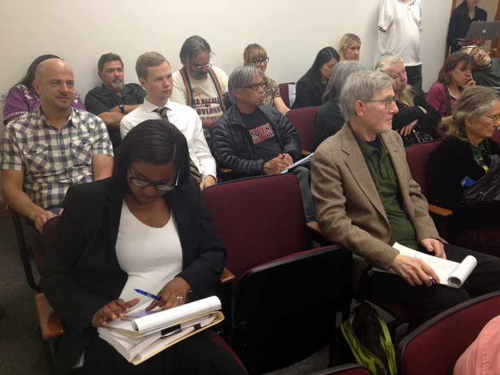 More than 20 people attended a hearing Tuesday about contested redistricting lines in Berkeley. Photo: Emilie Raguso