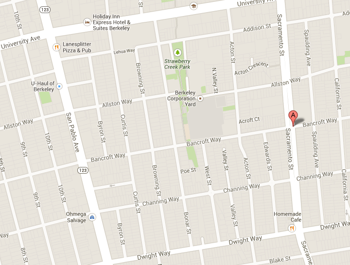 Joseph Luft was struck by a car while crossing the intersection of Bancroft Way and Sacramento Street in Berkeley. Image: Google Maps