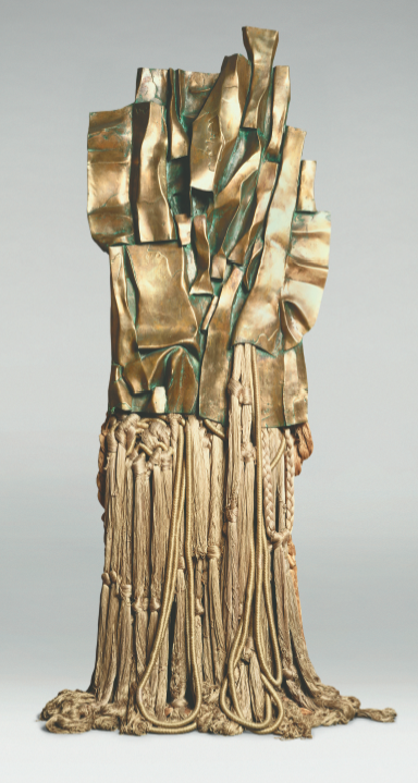 Barbara Chase-Riboud: Malcolm X #3, 1969; polished bronze, cotton,  and rayon; 118 x 47 ¼ x 9 7/8 in.; Philadelphia Museum of Art,  purchased with funds contributed by Regina and Ragan A. Henry, and  with funds raised in honor of the 125th Anniversary of the Museum and in celebration of African American art, 2001.