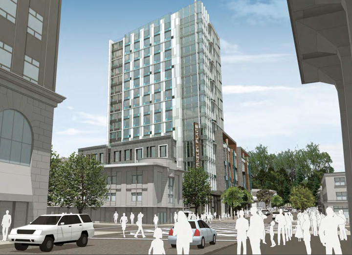 A 16-story hotel has been proposed on Center Street at Shattuck Avenue.  Image: JRDV Urban International