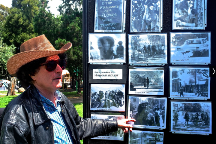 Former Berkeley Barb photographer Harold Adler, who shot the People's Park riots, brought prints of his photographs to the anniversary event  Photo: Ted Friedman