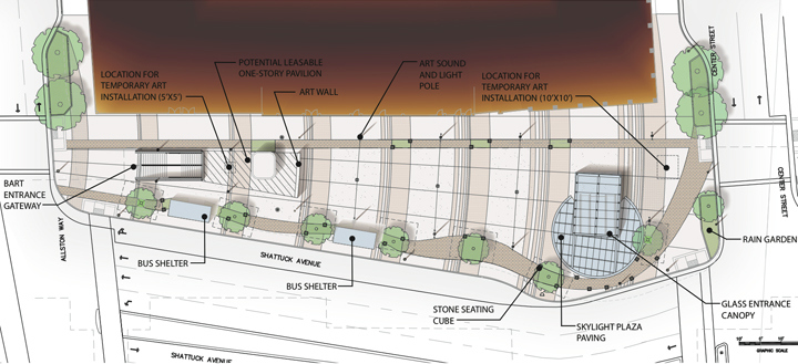 Proposed project elements include new BART entrances, a leasable pavilion, room for art and more. (Click to view larger.) Image: BART