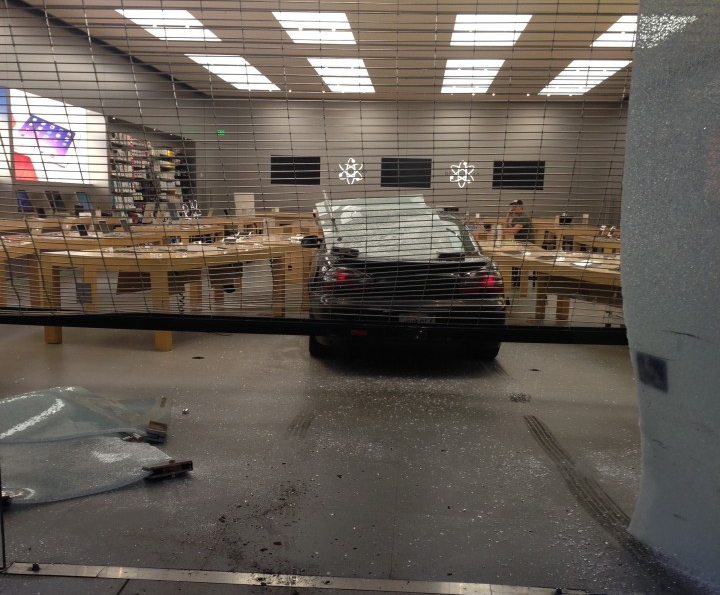 A car smashed through the glass façade of the Apple store at 1823 Fourth St. in Berkeley. Photo: Mickey Novello