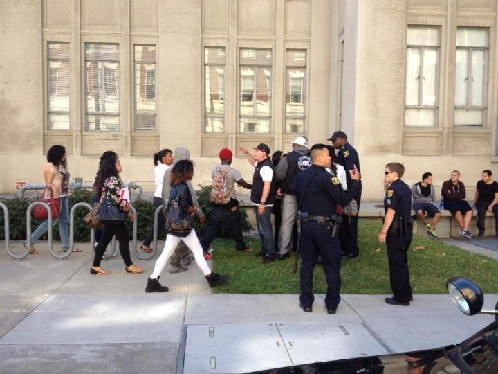 Police appeared to separate one girl from a group at around 4:30 p.m. Photo: Siciliana Trevino