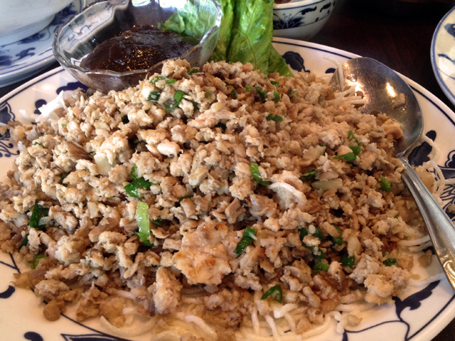 Minced chicken with lettuce is a great way to start the meal ($10.95).