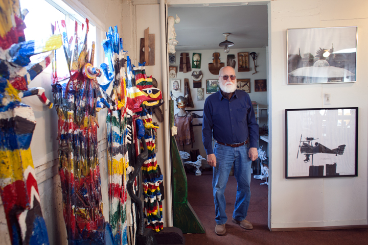 Hoare's Albany studio is full of his eclectic creations. Photo: Emilie Raguso