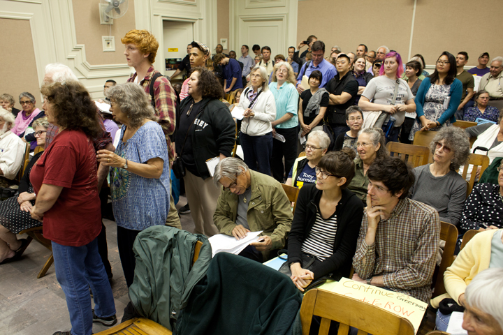 Dozens of community members spoke out about an increased minimum wage Tuesday night. Photo: Emilie Raguso