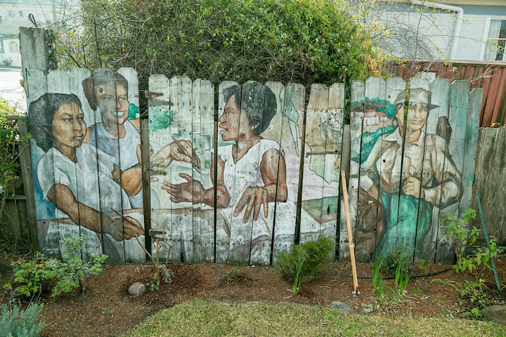Mural at 2742 Martin Luther King Way; photo by John Storey.