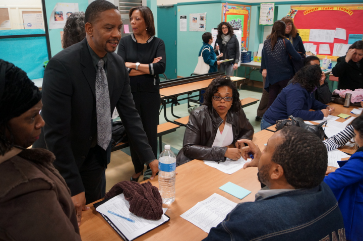 BUSD Superintendent Donald Evans speaks with participants at the first of several LCAP forums for the community, this one in December 2013. Photo: Mark Coplan