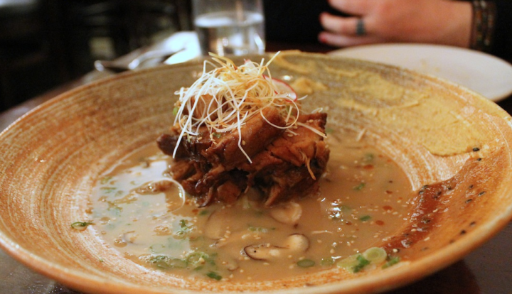 Buta-Charsu Pork Belly with Pork Broth, Miso and Mustard. Photo: Kate Williams