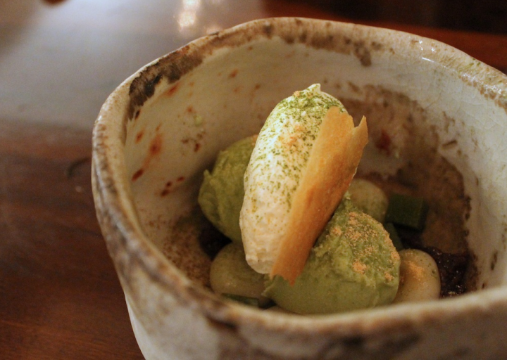 Matcha sorbet with Mochi and Matcha Jellies at Iyasare. Photo: Kate Williams