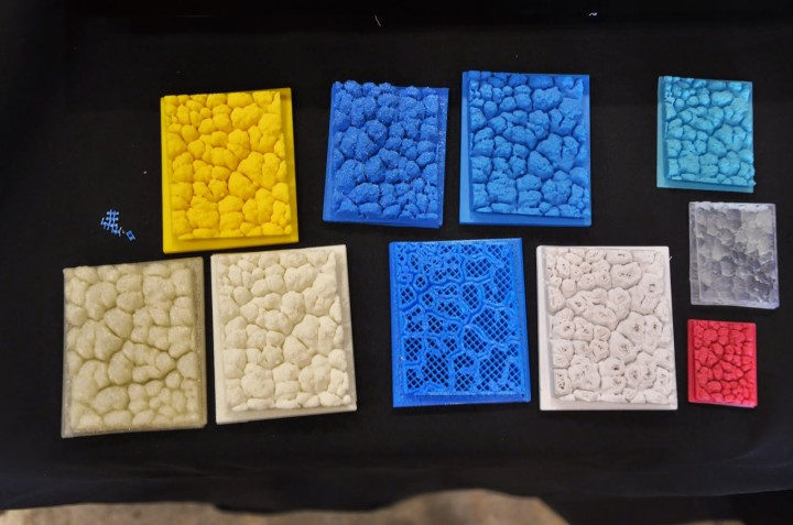 The club's eggshell scan printed by different companies at the San Mateo Maker Faire. Photo: Tales of a 3-D Printer