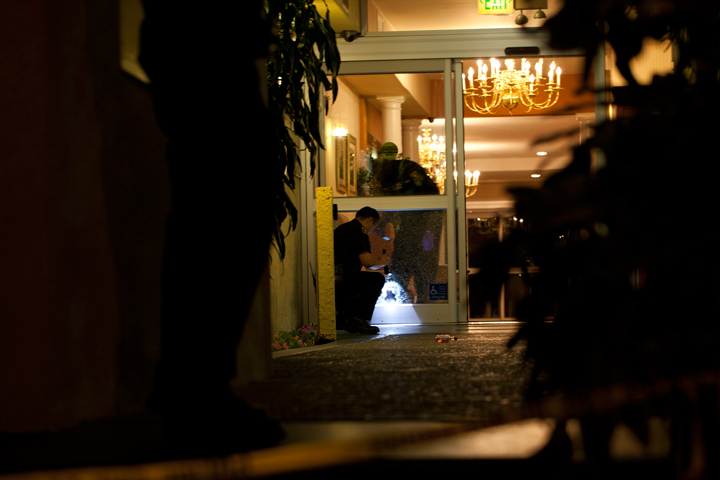 Police investigate a shooting at La Quinta on June 7. Photo: Emilie Raguso