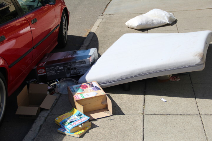 Mattress and debris near Piedmont Ave. Photo: Jasper Burget