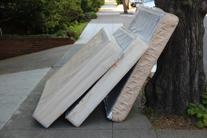 Mattresses on the sidewalk of Prospect St. Photo: Jasper Burget