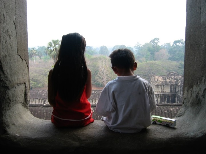 Ming Horn and her brother at Angkor Wat when Ming was in 1st grade.  Photo: Ming Horn
