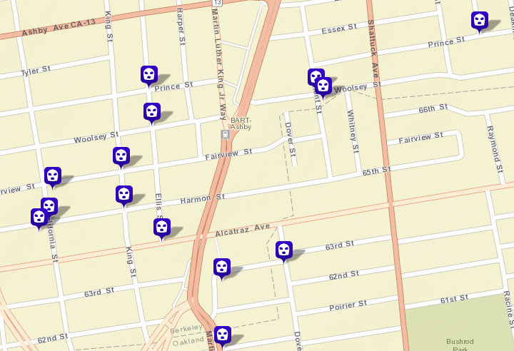 Robberies near the Ashby BART station. Image: CrimeMapping.com