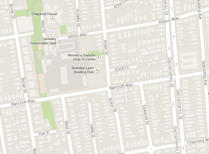 The accident happened at the intersection of Bancroft Way and Acton Street in Berkeley. Image: Google Maps