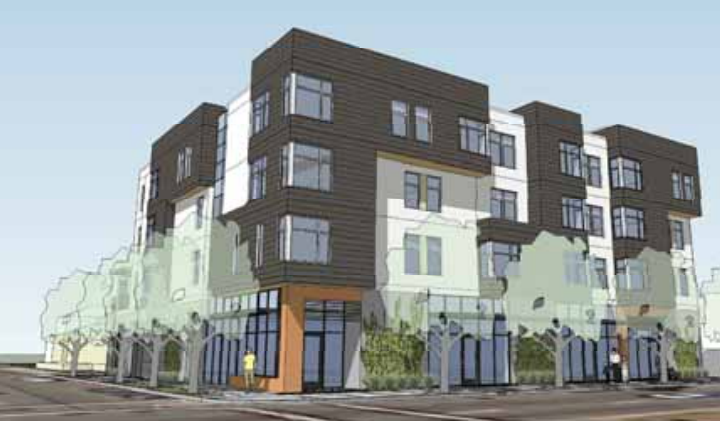 This proposed four-story building on San Pablo Avenue, to include 23 units, would be built with money from Berkeley's Housing Trust Fund. Image: HKIT Architects
