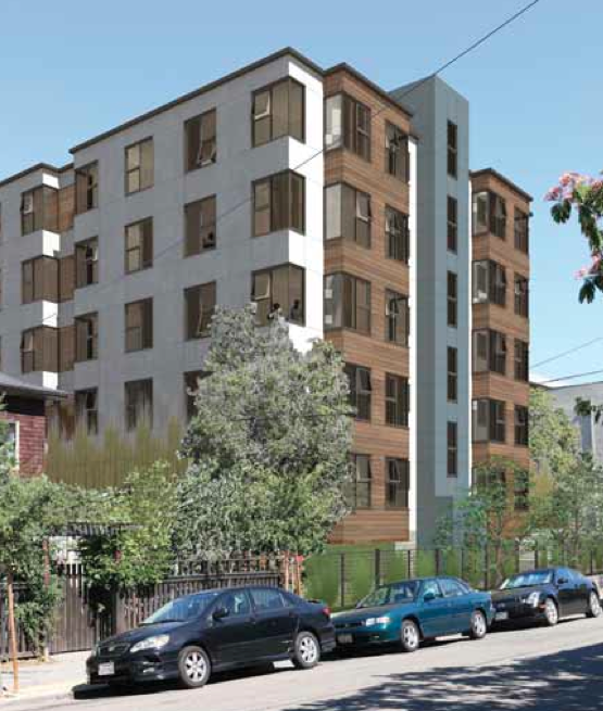The view of 2539 Telegraph Ave. on Regent Street, to the rear of the development. Image: Lowney Architecture
