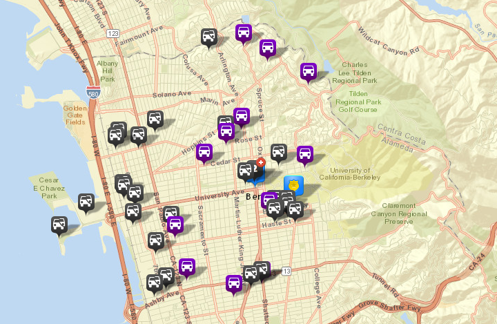 There were 28 thefts or burglaries from vehicles reported in Berkeley over this period, via CrimeMapping.com. There were 41 reported the prior week. There were also 12 vehicles stolen (shown in purple). Click the map for a list of incidents.