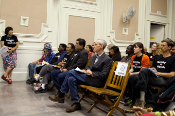 Supporters of a tax on sugar-sweetened beverages were out in force at the City Council meeting. Photo: Emilie Raguso