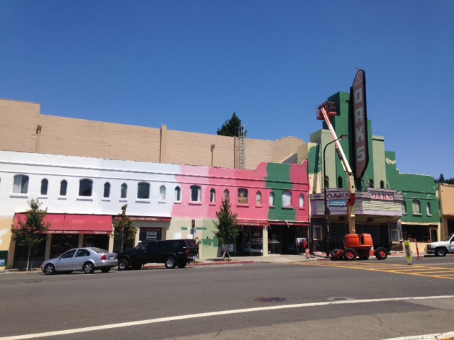 The Oaks Theater has been painted recently. Photo: Mary Flaherty